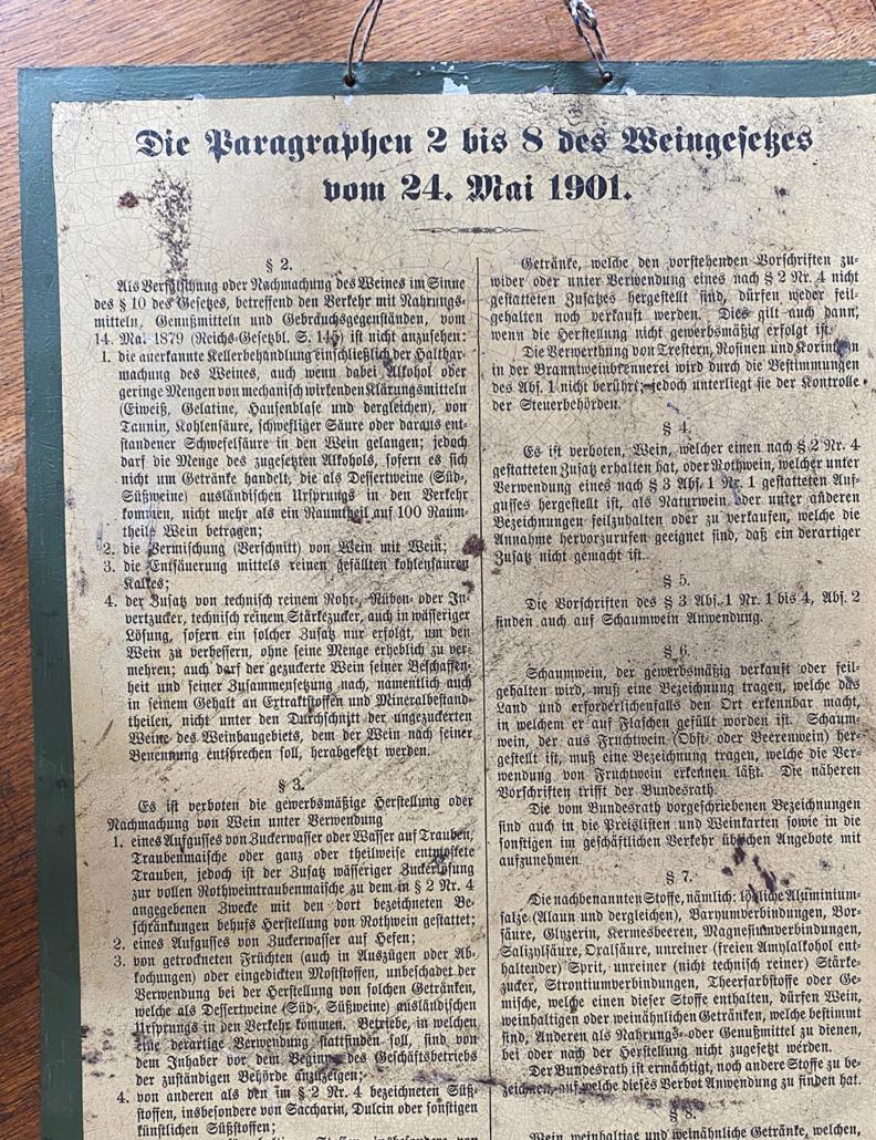 Auszug historisches Weingesetz von 1901